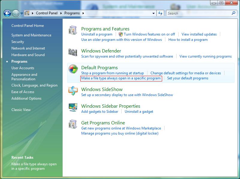 Make a file type always open in specific program