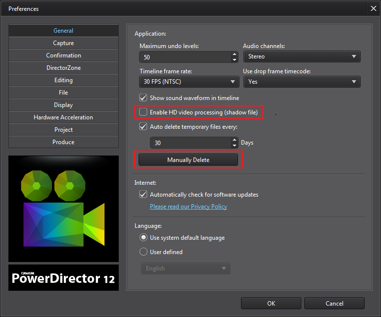 powerdirector how to change default output quality