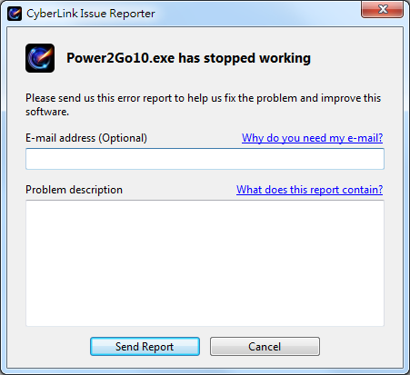 Customer Support - Error: Power2Go10 exe has stopped working