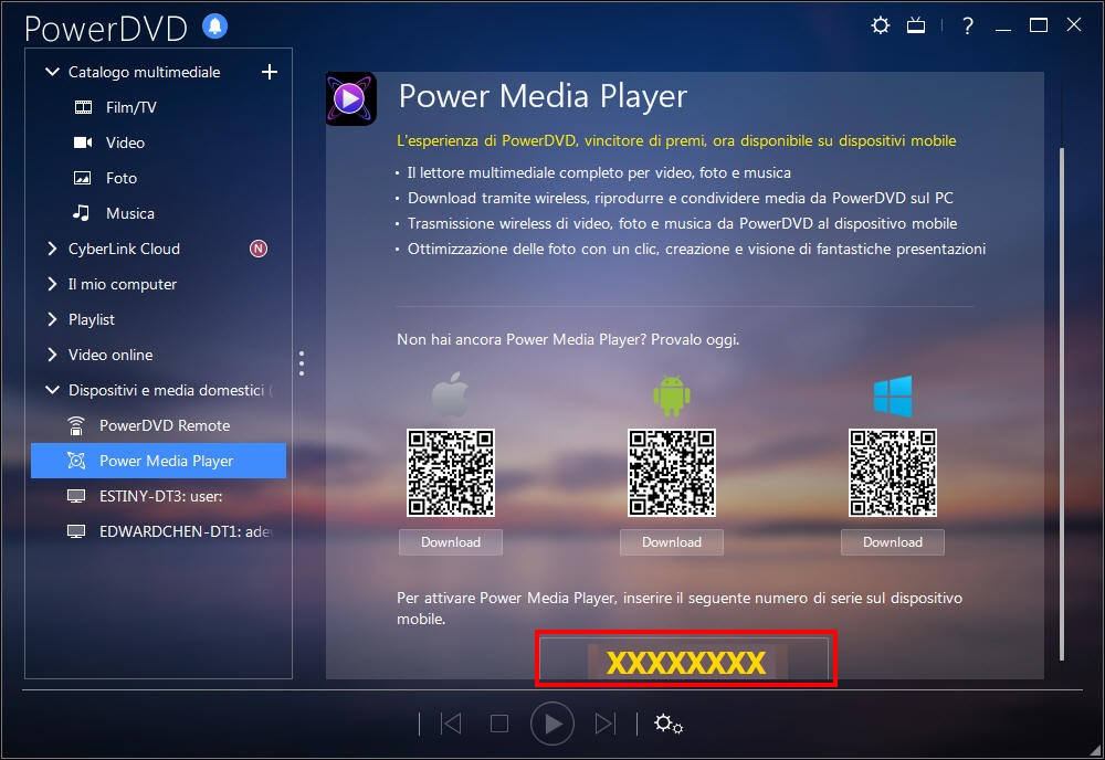 Attivare Power Media Player