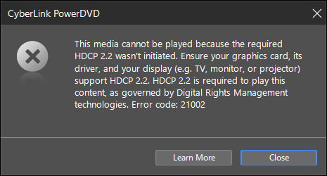 Customer Support My Platform Could Play Ultra Hd Blu Rays Previously But After Updating Windows 10 I Now Receive A Message With An Error Code That Starts With 2xxxx During Ultra Hd